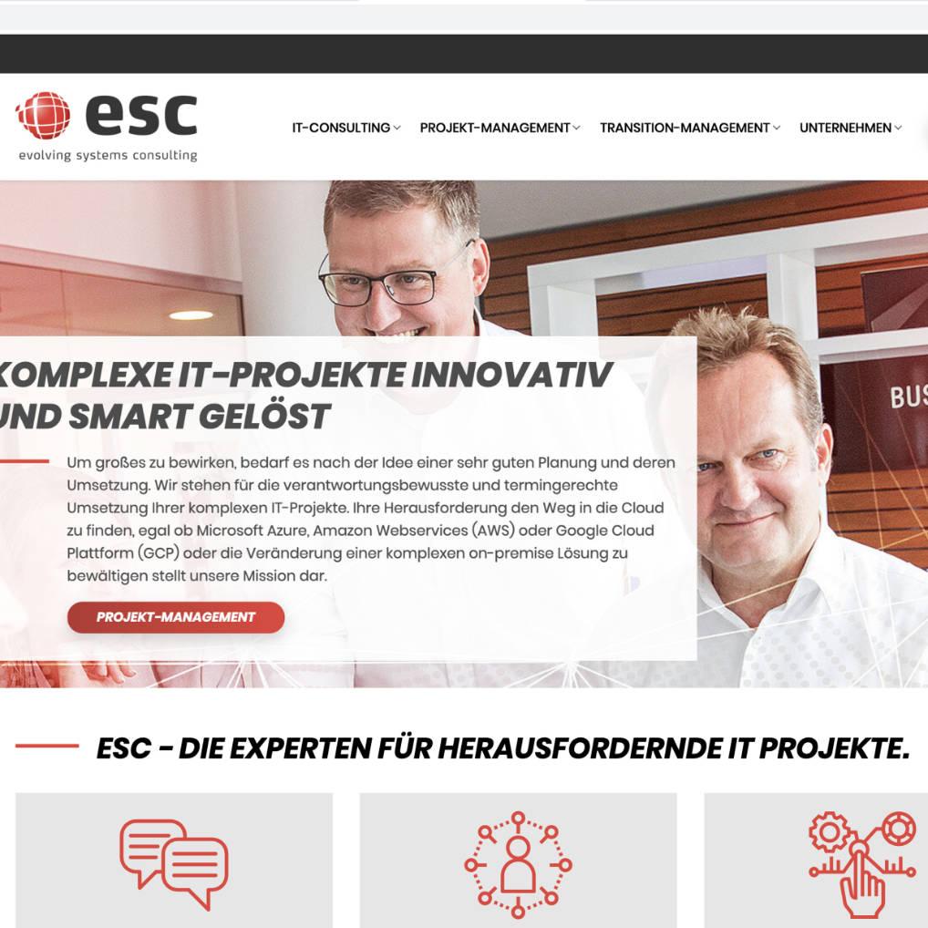Webseite esc, Freelance Projekt